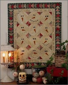 """""""Let It Snow"""" by Farmhouse Threads.  This pattern would make a cute table runner."""