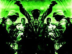 This piece is pretty unique. It has an aggressive feel with a monster-looking figure seemingly attacking a US troop in Iraq. In actuality, I made mirrored photocopies of an Iraqi man with his arms passively raised being interrogated by a US troop. The final image completely turns the original substance of the picture on it's head... For the color, I simply used a green sheet of printer paper...