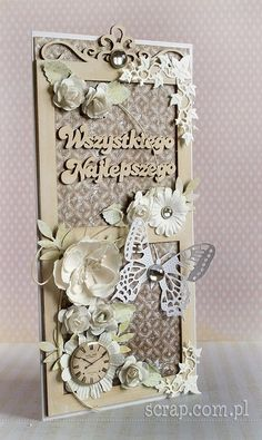 Button z motywem zegara Shaby Chic, Chipboard, My Love, Handmade Cards, Frame, Wedding, Buttons, Decor, Products