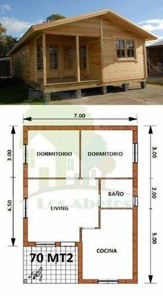 Resultado de imagen de planos de casas rectangular de un piso Tiny House Cabin, Cabin Homes, Small House Plans, House Floor Plans, 2 Bedroom House Plans, Bamboo House, Pallet House, Small House Design, Wooden House