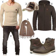 Beige-Braunes Herrenoutfit mit Stiefeln und Schal (m0700) #outfit #style #herrenmode #männermode #fashion #menswear #herren #männer #mode #menstyle #mensfashion #menswear #inspiration #cloth #ootd #herrenoutfit #männeroutfit