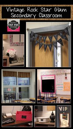Vintage Rock Star Glam Secondary Classroom Decor for Back to School | Chalkboard, Burlap, Pink