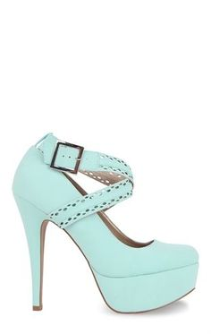 Deb Shops #mint Platform Pumps with Double Crossover Straps