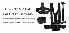8 in 1 Kit For GoPro Cameras – Chest Harness, Head Strap, Wrist Strap, Wrench…