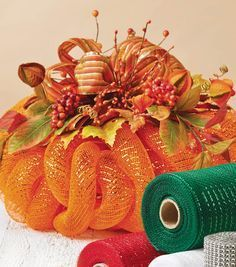 DIY Deco Mesh Pumpkin Centerpiece tutorial