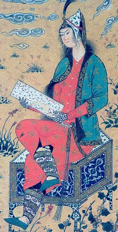 A seated lady in an orange dress and green mantle, Topkapi Sarai Museum Library, Istanbul, H. 2165, fol. 54v