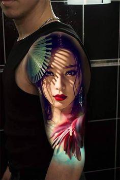 Geisha Tattoo For Arm tattoo tattoos tattooideas t Geisha Tattoos, Geisha Tattoo Design, 3d Tattoos, Badass Tattoos, Tatoos, Ankle Tattoo Designs, Tattoo Sleeve Designs, Sleeve Tattoos, Yakuza Tattoo