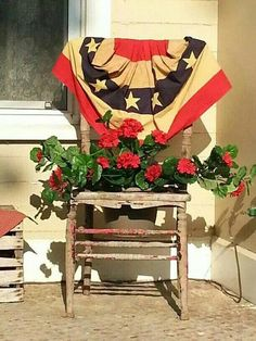 Old Glory Planter.old chair. Fourth Of July Decor, 4th Of July Decorations, July 4th, Americana Decorations, Flag Decor, Porch Chairs, Garden Chairs, Ikea Chairs, Arm Chairs