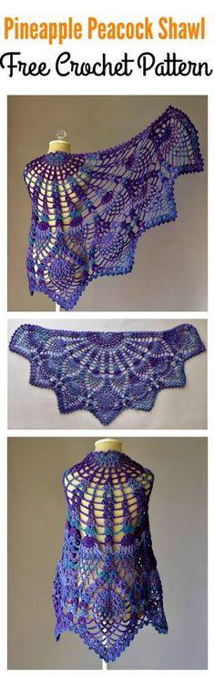 Pineapple Peacock Shawl Free Crochet Pattern