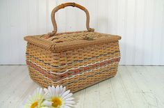 Retro Rectangular MultiColor Pastels Wicker & Wood Sewing Basket - Vintage Penneys Wooden Crafters Case - Bamboo Handle Artisan Carry All