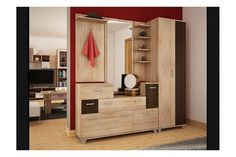 """Modern Hallway set """"Grand+"""" has a Shoe Cabinet Mirror Coat Hanger and a panel with shelves and Wardrobe Wardrobe Furniture, Hallway Furniture, Cabinet Furniture, Modern Furniture, Modern Coat Hooks, Modern Hallway, Shoe Cabinet, Coat Hanger, Dressing Room"""