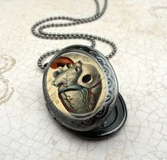 Anatomical Heart Locket Necklace : Handcrafted Oval Gunmetal Jewelry by Lizabettas, $19.00