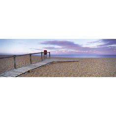 Boardwalk on the beach at dawn Chesil Beach Jurassic Coast Dorset England Canvas Art - Panoramic Images (18 x 6)
