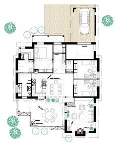 keittiö ja olkkari kivat! porrastus+ Dream Houses, Sims, House Plans, House Ideas, Floor Plans, Flooring, How To Plan, Architecture, Random