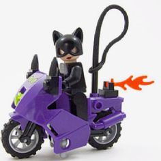 Lego Cat Woman and Purple Motorcycle