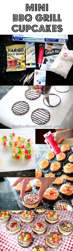 Super cute cupcake tutorial for kabobs on the grill cupcakes. A little more time-consuming than I usually do, and heavy on the candy melts. Deco Cupcake, Cupcake Cakes, Cup Cakes, Candy Cakes, Just Desserts, Delicious Desserts, Yummy Food, Cupcake Recipes, Dessert Recipes