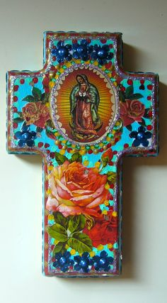 Mexican cross..they sell crosses at Hobby Lobby...modge podge images or use gel medium.Varnish♥