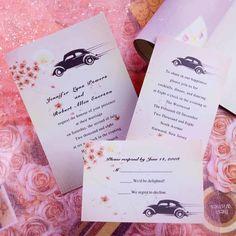 traditional pink spring car wedding invitation cards Free Printable Wedding Invitations, Black Wedding Invitations, Wedding Invitation Wording, Bridal Shower Invitations, Party Invitations, Invites, Perfect Wedding, Diy Wedding, Wedding Day