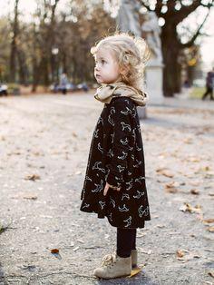 Love this printed doggie dress in black. #kids #fashion