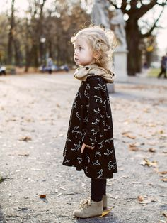 Love this printed doggie dress in black. #kids #fashion