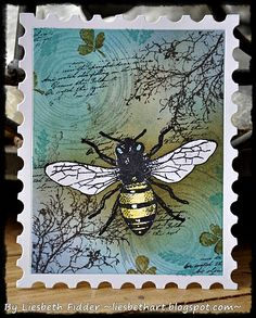 Art Journey stamps: Honey Bee, Branches, Ripple, Text.