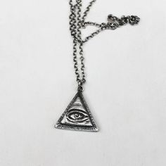 Sterling Silver All Seeing Eye Pendant w/ by IvyandGoldHandcraft