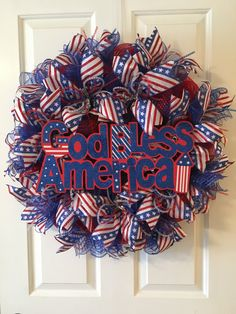 of July God Bless America Wreath, Memorial Day Wreath, Labor Day Wreath, Patriotic Front Door by TiraMercantile on Etsy Patriotic Room, Patriotic Wreath, Patriotic Decorations, 4th Of July Wreath, Valentine Day Wreaths, Holiday Wreaths, Holiday Decor, Wreaths For Front Door, Door Wreath