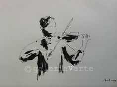Original ink drawing  Violin by galeriaVarte on Etsy