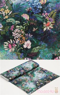 "fabric with chrysanthemums, orange and purple bluebells, birds etc., Material: 100% cotton, Fabric Type: smooth cotton fabric, Pattern Repeat: ca. 58.5cm (23"") #Cotton #Flower #Leaf #Plants #DigitallyPrinted #USAFabrics"