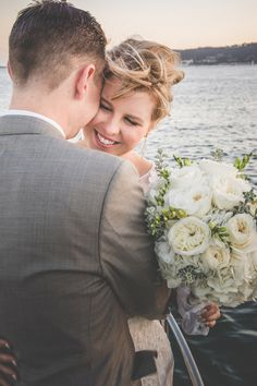 A Romantic Green and White Bridal Bouquet for a Nautical Wedding   Brit Jaye Photography   See More! http://heyweddinglady.com/vintage-nautical-wedding-on-a-yacht-from-brit-jaye-photography/
