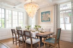 coastal dining room with turquoise accents