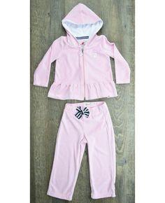 Conjunto blusão com babado e calça plush rosa MissFloor