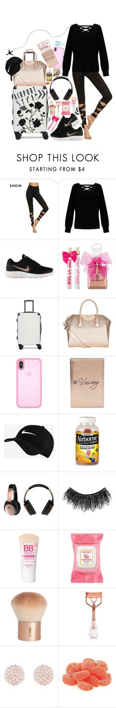 """Airport Style: relaxed"" by im-a-fancy-unicorn ❤ liked on Polyvore featuring Miss Selfridge, NIKE, Juicy Couture, CalPak, Givenchy, Speck, Bose, Illamasqua, Maybelline and Burt's Bees"