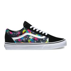 Rainbow Floral Old Skool ($65) ❤ liked on Polyvore featuring shoes, sneakers, lacing sneakers, floral print sneakers, low top skate shoes, lace up sneakers and flower print shoes