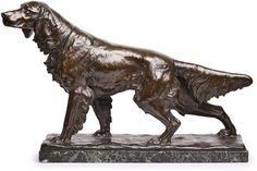 "Gr. Bronze Fritz Diller (1876 Thüringen - 1946 München) Setter, um 1930. Braun patiniert. Auf naturalist. Rechtecksockel stehender Hund m. wachem Blick, an Kante sign. ""F. Diller"". Auf schw. Marmor-Sockelplatte. Patina minim. ber., Marmor best. L 57 cm"