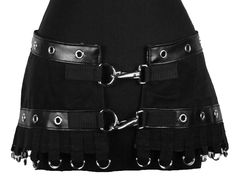 Hardware Skirt by Shrine. Black denim skirt with silver grommet trim, silver D-ring fringe at bottom and 2 silver fasteners. Shrine Clothing Is Proudly Made In The USA!