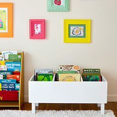 Make This Easy DIY Book Bin for Pretty Playroom Storage This built-from-scratch book bin puts grabbing something to read in reach of even toddlers. The post Make This Easy DIY Book Bin for Pretty Playroom Storage appeared first on Toddlers Ideas. Kids Storage, Storage Design, Book Storage Kids, Storage Ideas, Girl Room, Girls Bedroom, Diy Bedroom, Bedroom Furniture, Decoration Creche