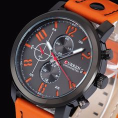 Curren Fashion Leisure Sport Man Leather Black Alloy Analog Quartz Wrist Watch at Banggood