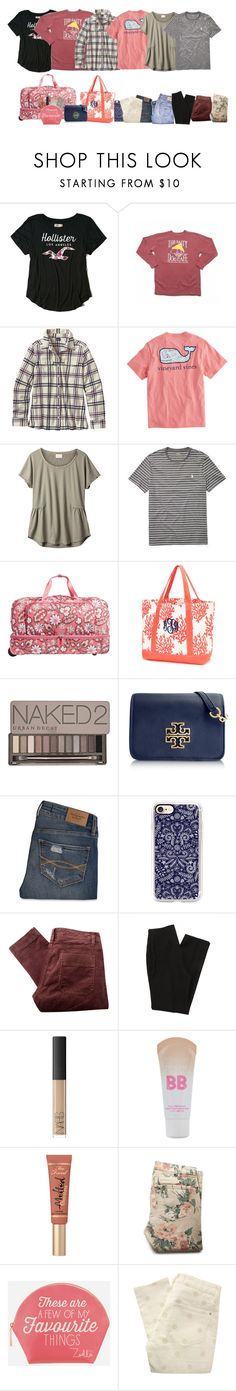 """""""Day 1: Packing"""" by simply-positive-prep ❤ liked on Polyvore featuring Hollister Co., Patagonia, Vineyard Vines, EAST, Ralph Lauren, Vera Bradley, Urban Decay, Tory Burch, Abercrombie & Fitch and Casetify"""