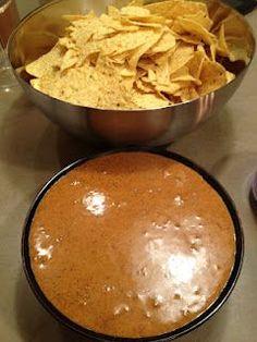 Love the stuff!!! Chili's Queso! 1 can of Hormel chili- No beans 16-ounce box Velveeta Cheese 1 C. milk 2 teaspoons paprika ½ tsp. ground cayenne pepper 4 tsp. chili powder 1 tablespoon lime juice ½ tsp. ground cumin