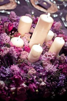 Radiant Orchid centerpieces
