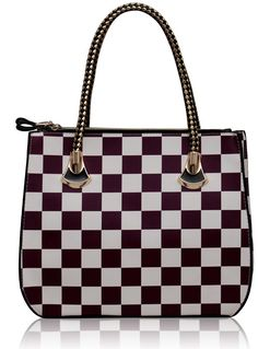 Purple and White Checkered Print Grab Bag Bags For Teens, Kids Bags, Leather Shoulder Bag, Leather Bag, Bags 2017, Shoulder Bags For School, New Handbags, Grab Bags, Bag Sale