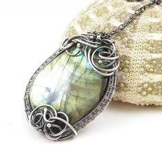 Labradorite wire wrapped necklace  wire wrap by MadeBySunflower, $190.00