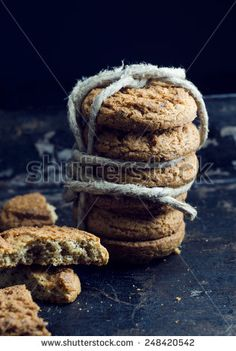 Close up of traditional cookies, over grunge plate
