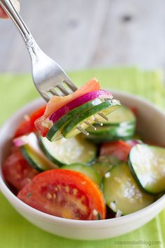 Zucchini and Tomato Salad Recipe - a perfect way to use the bountiful summer produce!