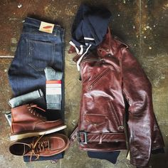 Rogue Territory Indigo SK, Red Wing Heritage 1907 & Merino Wool Socks, foreign rider French Terry Hoodie, Schott NYC 626
