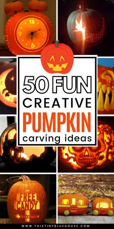 50 unique creative pumpkin carving ideas you've gotta try this Halloween. From scary to adorable there's a pumpkin for everyone! Halloween Treats For Kids, Halloween Pumpkins, Halloween Crafts, Halloween Decorations, Halloween Costumes, Scary Halloween, Halloween Ideas, Happy Halloween, Halloween Stencils
