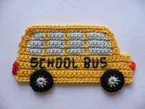 School bus stop sign crocheted application crochet Crochet Afghans, Knit Or Crochet, Crochet Motif, Crochet For Kids, Crochet Flowers, Crochet Toys, Crochet Stitches, Crochet Applique Patterns Free, Crochet Square Patterns