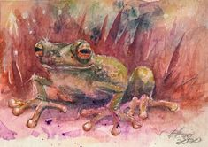 ACEO painting Original Frog Frogs Watercolor art Originals direct from artist US - Ideas of Watercolor Painting Watercolor Paintings For Beginners, Watercolor Techniques, Watercolor Branding, Watercolor Art, Old Paintings, Original Paintings, Frog Art, Sunset Art, Original Art For Sale