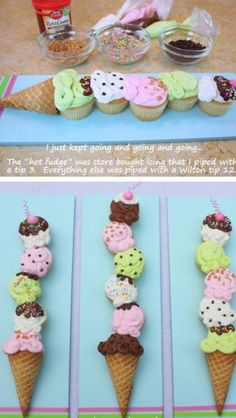 Adorable idea for cupcakes. cupcakes made to look like an ice cream cone. great for ice cream theme party Cônes Cupcake, Cupcake Cones, Cupcake Display, Cupcake Birthday, Ice Cream Birthday Cake, Cupcake Photos, Cupcake Toppers, Cupcakes Bonitos, Cupcakes Decorados